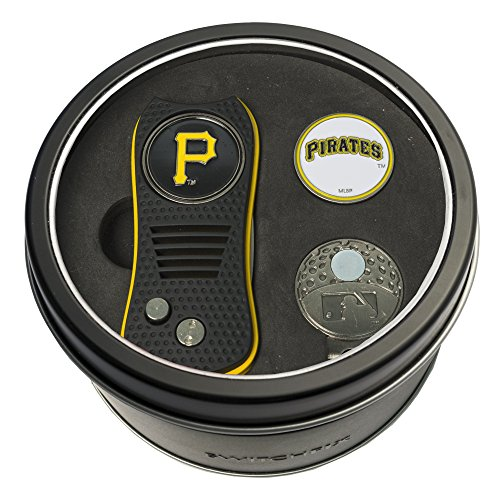 Team Golf MLB Pittsburgh Pirates Gift Set Switchblade Divot Tool, Cap Clip, & 2 Double-Sided Enamel Ball Markers, Patented Design, Less Damage to Greens, Switchblade Mechanism