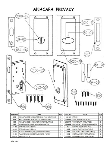 Anacapa by FPL- Solid Brass Modern Pocket Door Mortise Lock Set in Privacy - Bed/Bath Function - Satin Nickel by FPL Door Locks and Hardware Inc. (Image #3)