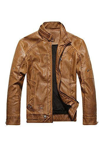 With for PU Yellow Mens Autumn Jacket Stand and American Leather Winter Collar Motorcycle Men Down European Style and XINISI and wXq4ZXv