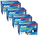 Expo 80001 Low Odor Chisel Point Dry Erase Markers, Black, 12 Units per Box, Pack of 4 Boxes, 48 Markers Total