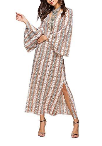 YiyiLai Vausschnitt Damen Langarm Sommer Langes Kleid Partykleid ...