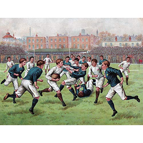 (Scotland England 1893 Rugby Football Match Painting Large Print Poster Wall Art Decor Picture)