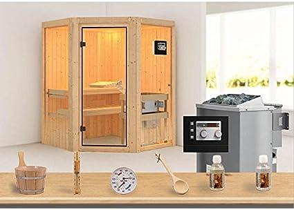 Karibu acción sauna OSB 1.1 - 9-kw-horno vs, e incluye un kit de accesorios