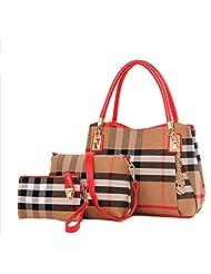 Lunas Women's 3Pcs Plaid Canvas Tote Handbag Messenger Shoulder Clutch Set