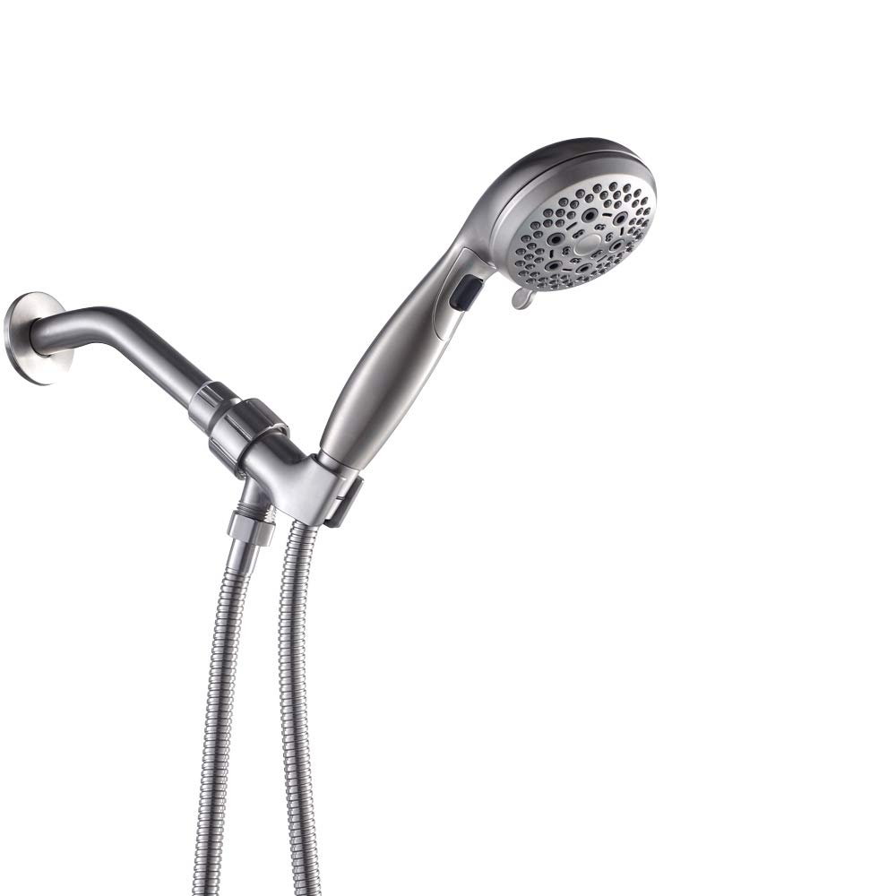 LORDEAR Luxury Large High Pressure 6 Setting Water Flexible Removable Rain Message Detachable Handheld Shower Head Set with Holder, 3.5'' Shower Head with 60'' Stainless Steel Hose, Brushed Nickel