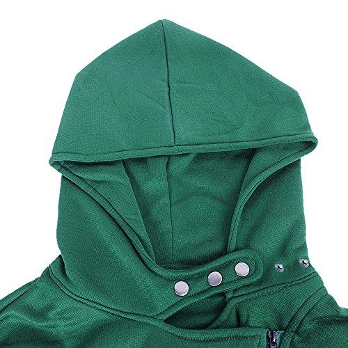 Fille Capuche Femme Manche Hiver pour Longue Vert Sweat Veste Fermeture Hauts Casaul Hoodie clair Dihope Pull qp1x6EEn