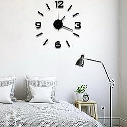 Super silent large decorative wall clocks home decor diy clocks living room mural wall sticker (Black)