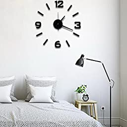 Super silent large decorative wall clocks home decor diy clocks living room mural wall sticker (Black)