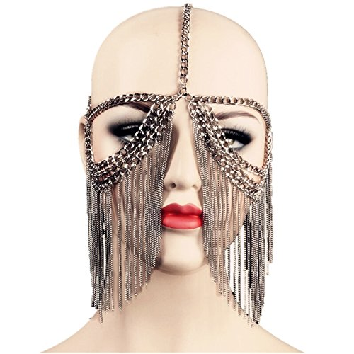 ZYZF Women Egyptian Tribal Punk Tassel Metal Head Face Chain Veil Forehead Headband Party Mask (Black)