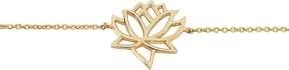 Plaqu/é Or 18 Carats 3 Microns Fleur De Rosace Dentelle Fleur De Lotus ou Arbre De Vie Rendez-vous RueParadis Paris Soldes D/ét/é Bracelet Cha/îne Bijou Femme Pr/écieux