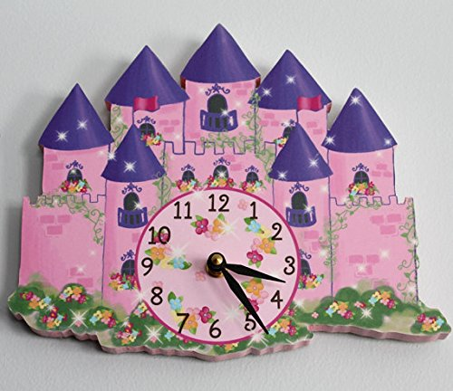 Princess Castle Wooden WALL CLOCK for Girls Bedroom Baby Nursery WC0033 by Toad and Lily