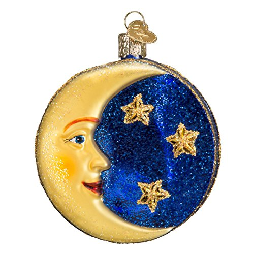 Old World Christmas Ornaments: Man in The Moon Glass Blown Ornaments for Christmas ()