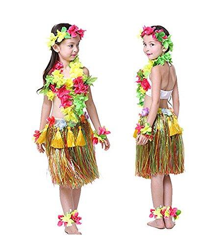 Ballet Dancer Fancy Dress Costume (Rosemary Hawaiian Hula Dance Costume Ballet Show Cosplay Dress Skirt Garland for kids girls 40cm Full Sets Mulcticolor)