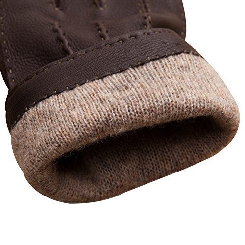 CHULRITA Mens Deerskin Leather Drivers Gloves with Wool Lining, Brown, Large by CHULRITA (Image #5)