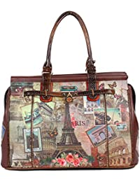 Womens Vintage European Print [Brown] Overnighter Padded Laptop Compartment Travel Shoulder Bag, Vintage
