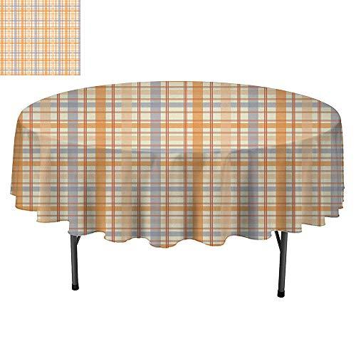 SATVSHOP Modern Minimalist Round tablecloth-50Inch-Decorative Washable.Retro Classic Celtic Plaid Pattern Squar Strip Geometric Traditional Tile Orange Peach Light Blue.