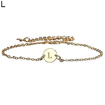 Small Alliage 26Lettres en métal Bracelet de Cheville de Plage Pied Chaîne Femme Cadeau Bijoux Sandale Cheville Barefoot Chaîne - doré Sanwood