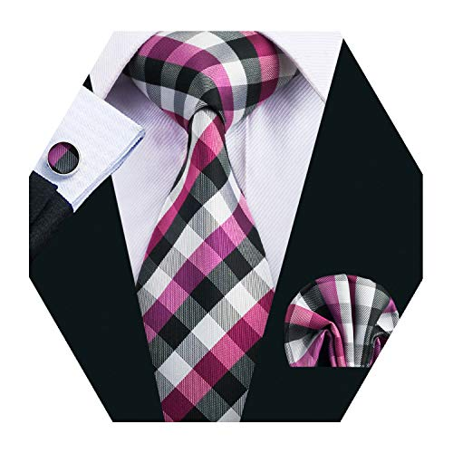 (Barry.Wang Pink Plaid Check Tie Set Mens Woven Silk Necktie Business Wedding Tie)
