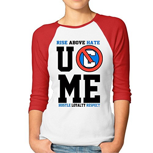 ABSOP Women's John Cena U Can't See Me Logo 3/4 Sleeve Baseball T Shirts