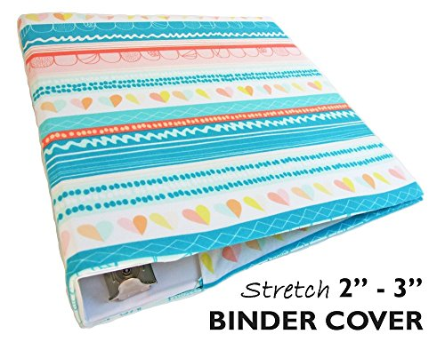 White Stretchable Book Cover : Planner binder in turquoise hearts and stripes