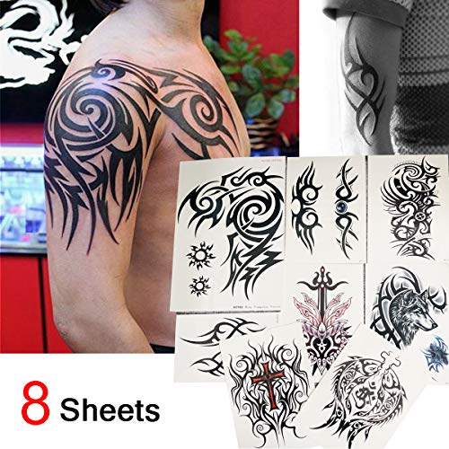 Kotbs 8 Sheets Waterproof Large Temporary Tattoos Men Tribal Totem Tattoo Sticker Make up Body Art Fake Tattoo -