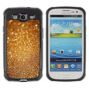 CashCase Rugged Hybrid Armor Slim Protection Case Cover Shell FOR S3 Case ,I9300 Case Cover ,I9308 case ,Leather for S3 ,S3 Leather Cover Case / Gold Dust Sparkle Glitter Bling Metal /