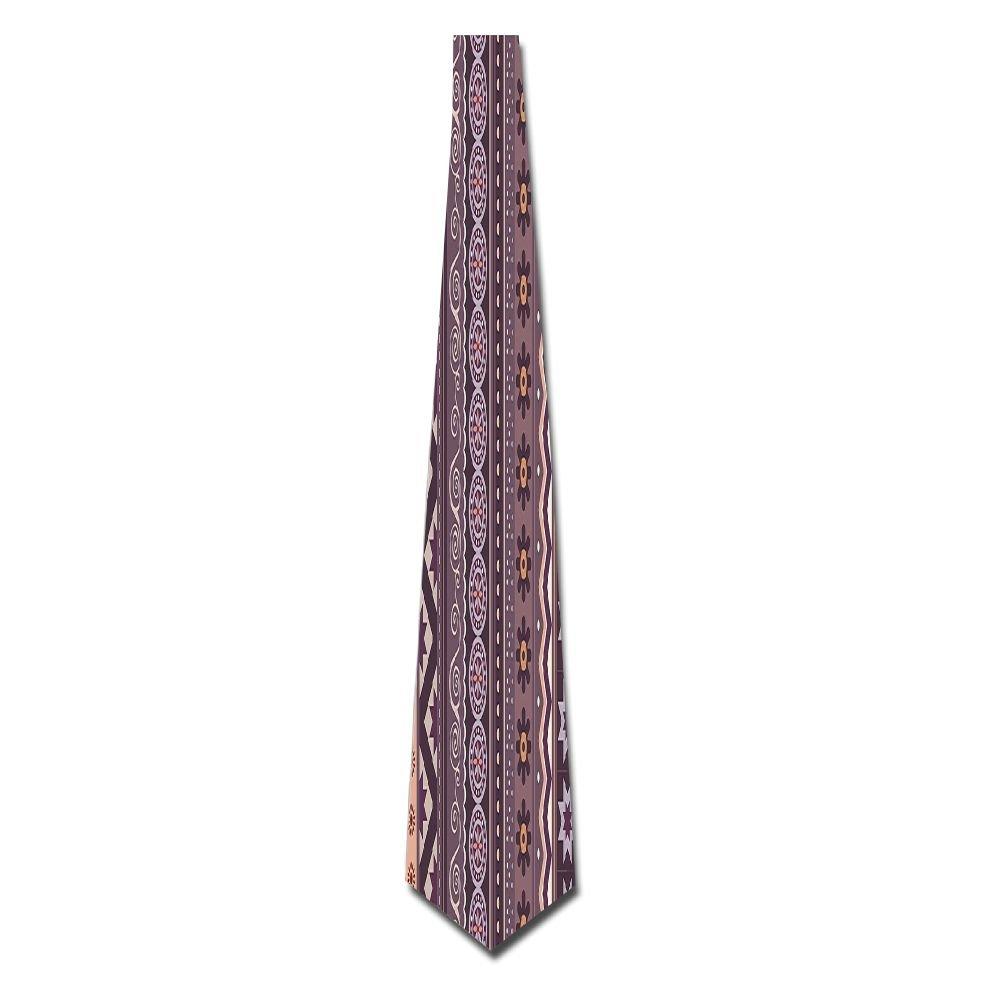 WuLion Chevron Lines Shapes Flowers Florals Boho Hippie Style Artwork Men's Classic Silk Wide Tie Necktie (8 CM)