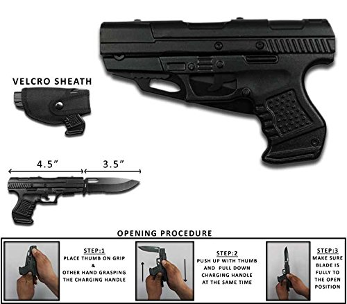 """8.25"""" Tactical All Black 1911 Assisted Open Folding Pocket Knife with Case"""