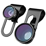 VicTsing 3 in 1 Clip-on Cell Phone Camera Lens Kit, 180 Degree Supreme Fisheye II + 0.65x Wide Angle II + Macro Lens for iPhone 6/6S Plus Samsung Galaxy and Android Smartphones
