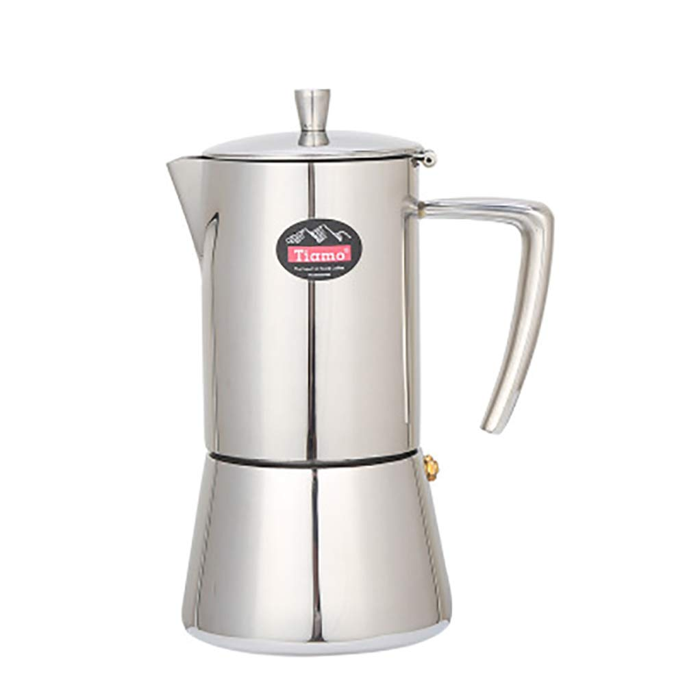 Coffee Pot, 4cup / 6cup Stainless Steel Coffee Pot 304 Pot Mocha Household Hand Blowing Pot Filter Cup, Suitable for Office, Family, Cafe,300ml