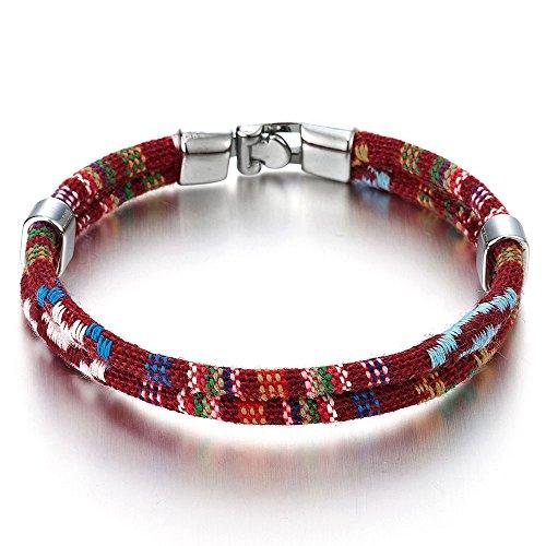 COOLSTEELANDBEYOND Two-Strand Red Tribal Tibetan Womens Mens Cotton Bracelet Wristband Wrap Bracelet