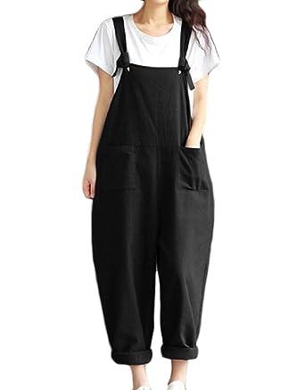 2ffeb7924ab3 Amazon.com  Comfy Women s Overalls Casual Loose Pure Color Pocket Jumpsuit  Pants  Clothing