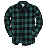Urban Boundaries Womens Buffalo Plaid Long Sleeve Flannel Shirt w/Point Collar (Black/Pink, Large)