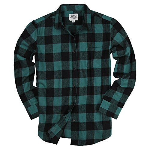 Urban Boundaries Womens Buffalo Plaid Long Sleeve Flannel Shirt w/Point Collar (Black/Green, Medium)