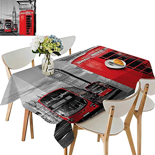 UHOO2018 Printed Fabric Tablecloth Square/Rectangle Telephe Booth in The StreTraditial Local Cultural Ic England UK Ret Wedding Party Restaurant,54 x120inch.