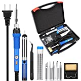 KEDSUM 7 in 1 Soldering Iron Kit with ON-OFF Switch and Tool Case, 60W 110V-Adjustable Temperature Welding Soldering Iron with 5 Soldering Tips, Solder Wire, Desoldering Pump, Tweezer, Cleaning Sponge