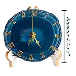 AMOYSTONE Agate Table Clocks Battery Operated for Living Room Round Decor Desk Clock with Precise Silent Sweep Mechanism Dyed Teal