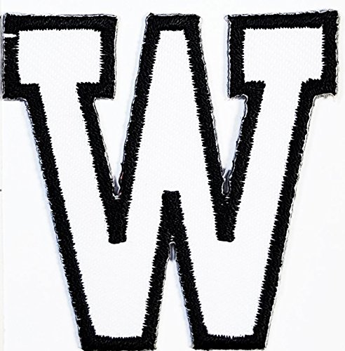 (White W letter patch Symbol Jacket T-shirt Patch Sew Iron on Embroidered Sign Badge Costume. 2 x 2)