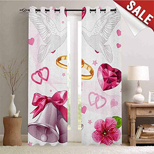 Wedding Blackout Draperies for Bedroom Wedding Themed Artwork Invitation Announcement Hearts Rings Birds Happiness Thermal Insulating Blackout Curtain W84 x L108 Inch Pink White -