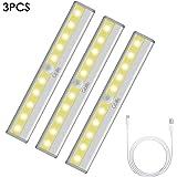 LED Lámpara de Armario 3 packs, USB Recargable, Sensor de Movimiento con Banda Magnética Inalámbrica para cocina escalera garaje (amarillo)