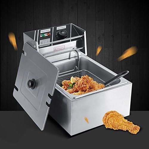 Zerone Freidora 6L de acero inoxidable grasa freidora comercial Catering cocina máquina eléctrica con cesta y temperatura Control freidora