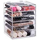 Beautify Large 6 Tier Clear Acrylic Cosmetic Makeup Cube Organizer with 5 Drawers,Upper Compartment and Removable Divider - 11.8 x 9.45 x 9.45 inches
