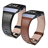 CAGOS Compatible Fitbit Ionic Band Sets, 2 Pack Breathable Genuine Leather Strap Replacement