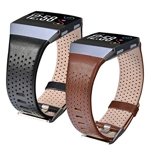 """CAGOS Compatible Fitbit Ionic Band Women Sets, 2 Pack Breathable Genuine Leather Strap Replacement Accessories Wristband for Fitbit Ionic Men (Dark Brown+Black, Small(5.5""""-6.7""""))"""