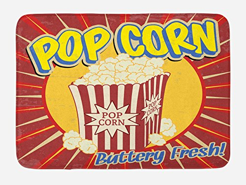Ambesonne Retro Bath Mat, Vintage Grunge Pop Corn Commercial Print Old Fashioned Cinema Movie Film Snack Artsy, Plush Bathroom Decor Mat with Non Slip Backing, 29.5 W X 17.5 W Inches, Multicolor by Ambesonne