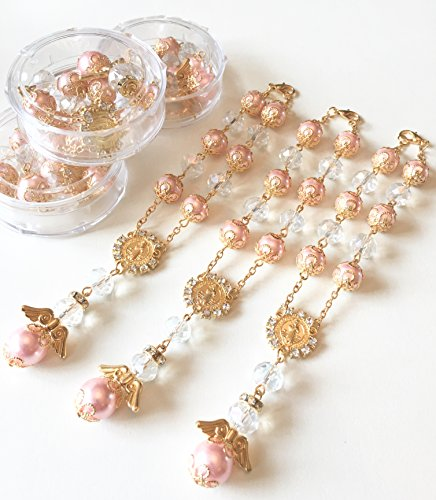 12 Baptism Pink/Gold Angel Favors Bracelet Party Favors Bautizo Recuerdos Angel Bracelet (Pink Rosary For Party Favor)