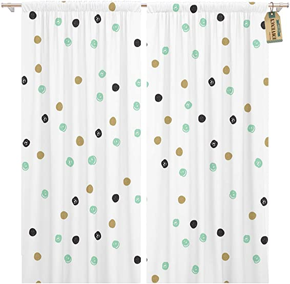 Golee Window Curtain Vintage Doodle Black Blue Mint and Gold Dots Polka Home Decor Pocket Drapes 2 Panels Curtain 104 x 96 inche
