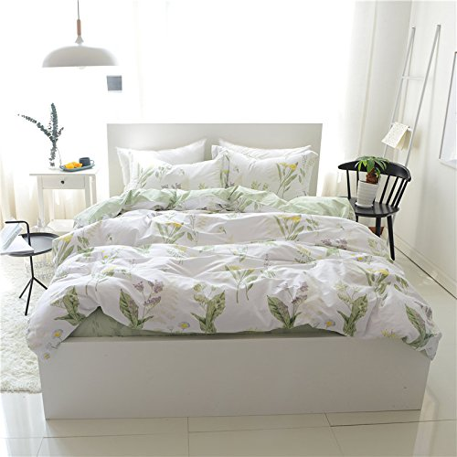 FADFAY Shabby Green Floral Duvet Cover Set Floral Pattern Design Cotton Girls Bedding Set 4 Pcs,1fitted Sheet+1duvet Cover+2pillowcases, Full Size by FADFAY