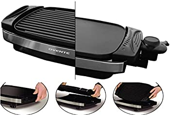 Ovente Reversible Electric Grill and Heat Tempered Glass Cover with Bonus Non Stick Skillet, Indoor and Outdoor Grilling, 1800 Watts, Black (GR3002B)