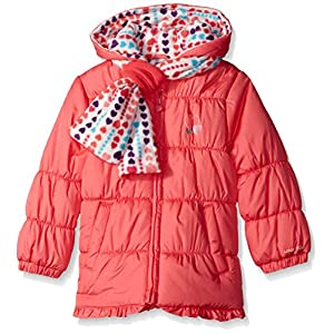 London Fog Little Girls' Ruffle Puffer Coat With Scarf, Coral, 5/6
